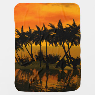Beautiful sunset over a palm island stroller blankets