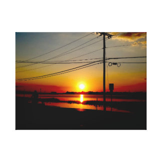 beautiful sunset over bay gallery wrapped canvas