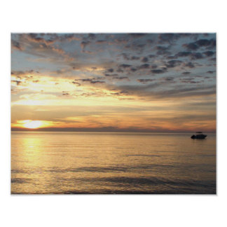 Beautiful Sunset over Buzzard's Baby in Cape Cod Poster