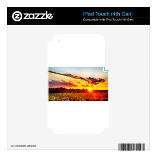 beautiful sunset over farmfield in autumn evening decals for iPod touch 4G