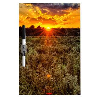 beautiful sunset over farmfield in autumn evening dry erase board