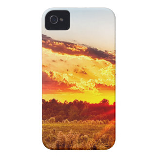 beautiful sunset over farmfield in autumn evening iPhone 4 Case-Mate cases