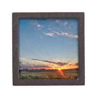 beautiful sunset over farmfield in autumn evening jewelry box