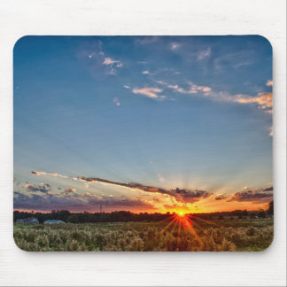 beautiful sunset over farmfield in autumn evening mouse pad