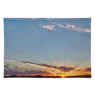 beautiful sunset over farmfield in autumn evening placemat