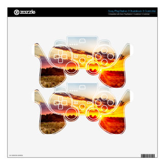 beautiful sunset over farmfield in autumn evening PS3 controller decals