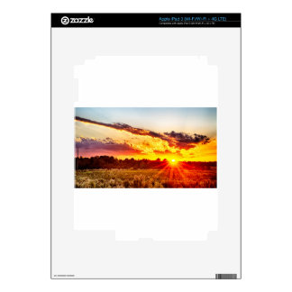 beautiful sunset over farmfield in autumn evening skins for iPad 3