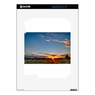 beautiful sunset over farmfield in autumn evening skins for the iPad 2