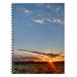 beautiful sunset over farmfield in autumn evening spiral notebook