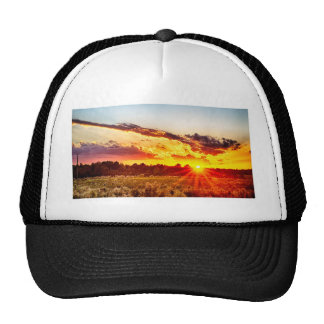 beautiful sunset over farmfield in autumn evening trucker hat