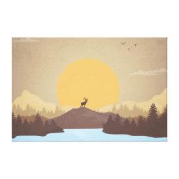 Beautiful sunset over lake scenery canvas print