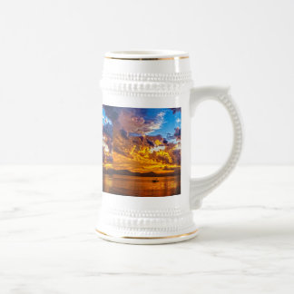 Beautiful Sunset over Lake with Boat Beer Stein