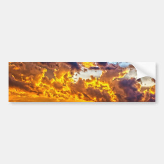 Beautiful Sunset over Lake with Boat Bumper Sticker