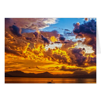 Beautiful Sunset over Lake with Boat Card