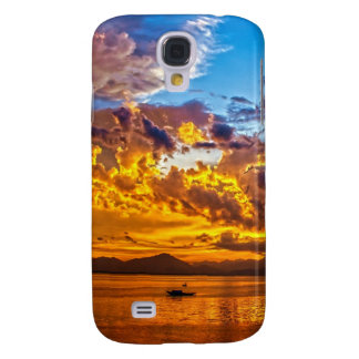 Beautiful Sunset over Lake with Boat HTC Vivid Cases