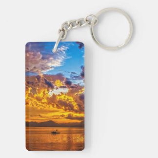 Beautiful Sunset over Lake with Boat Keychain
