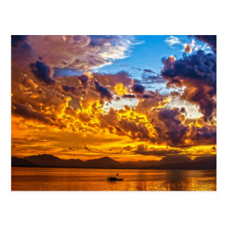 Beautiful Sunset over Lake with Boat Postcard