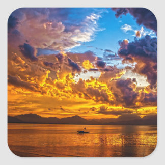 Beautiful Sunset over Lake with Boat Square Sticker