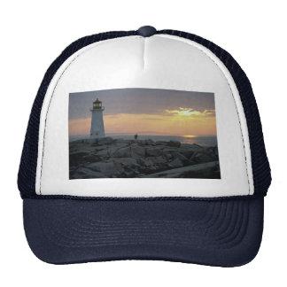 Beautiful Sunset Peggy s Cove Light House Nova S Mesh Hats