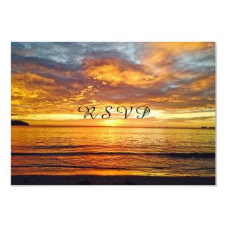 Beautiful Sunset Photo, Wedding R S V P 3.5x5 Paper Invitation Card