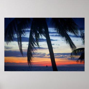 Beach Themed Beautiful sunset. poster
