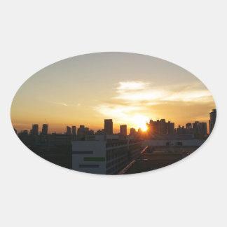 Beautiful Sunset Premium Oval Sticker
