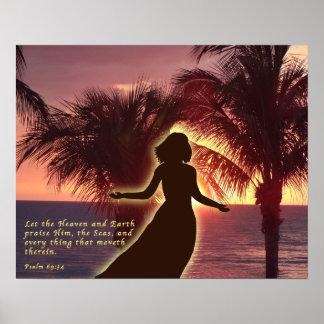 Beautiful Sunset Psalms Scripture Print