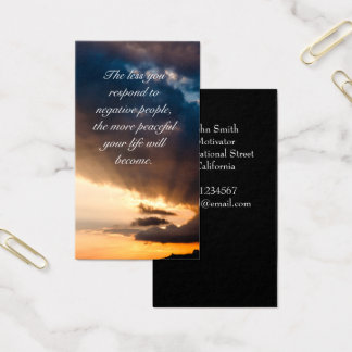 Beautiful sunset rays of hope Motivational quote Business Card