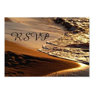 Beautiful Sunset Sandy Beach Wedding RSVP Card