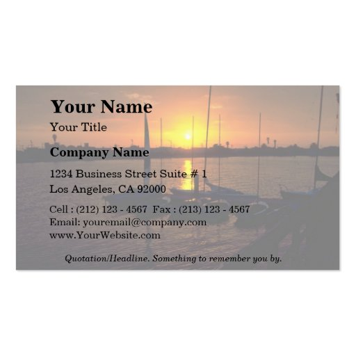 Beautiful Sunset: Santa Clara Point, Mission Bay, Business Card Templates