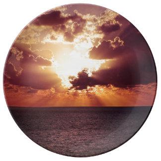 Beautiful sunset scenery porcelain plate