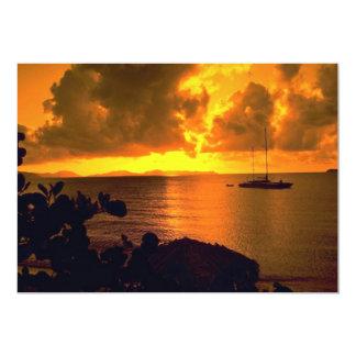Beautiful Sunset: Sebastian's, Virgin Gorda, Briti 5x7 Paper Invitation Card
