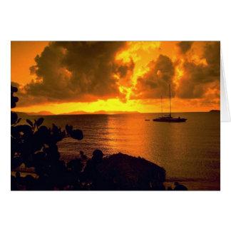 Beautiful Sunset: Sebastian's, Virgin Gorda, Briti Greeting Card