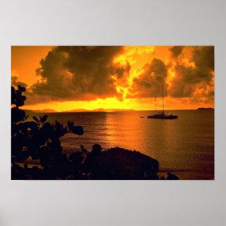 Beautiful Sunset: Sebastian's, Virgin Gorda, Briti Poster