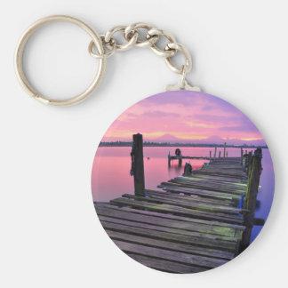 Beautiful Sunset Sky And Boardwalk Keychain