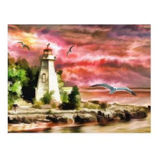 Beautiful Sunset Sky And Lighthouse Postcard