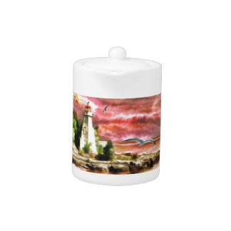 Beautiful Sunset Sky And Lighthouse Teapot