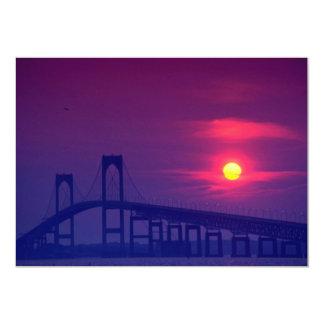 Beautiful Sunset: Sun setting over a bridge, Newpo Card