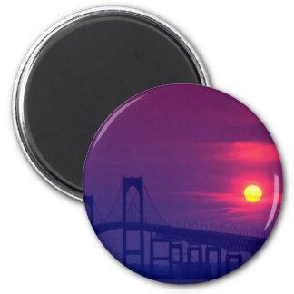 Beautiful Sunset: Sun setting over a bridge, Newpo Magnets