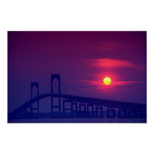 Beautiful Sunset: Sun setting over a bridge, Newpo Poster