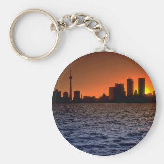 Beautiful Sunset: Toronto skyline at sunset, Ontar Keychain