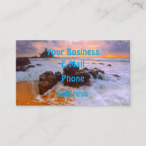Beautiful Sunset Tropical Sea Sandy Beach Business Card