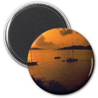 Beautiful Sunset: Virgin Gorda, British Virgin Isl 2 Inch Round Magnet