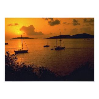 Beautiful Sunset: Virgin Gorda, British Virgin Isl 5x7 Paper Invitation Card