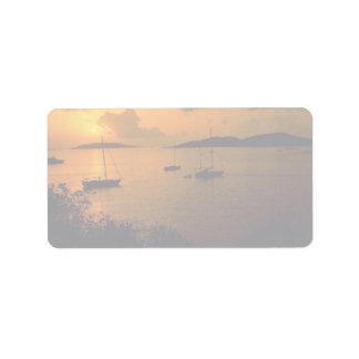 Beautiful Sunset: Virgin Gorda, British Virgin Isl Address Label