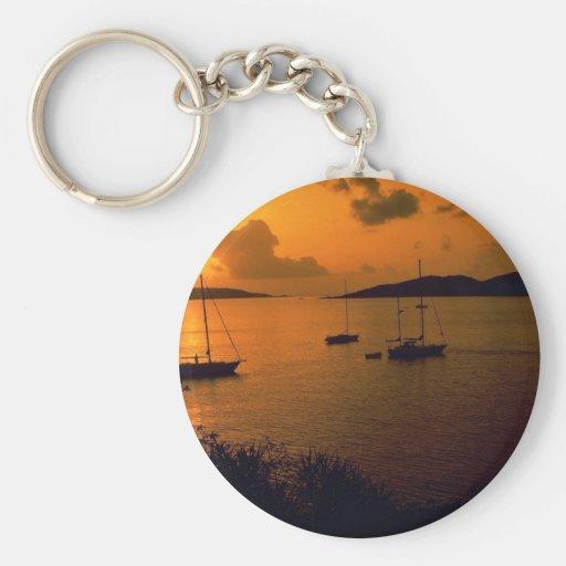 Beautiful Sunset: Virgin Gorda, British Virgin Isl Basic Round Button Keychain