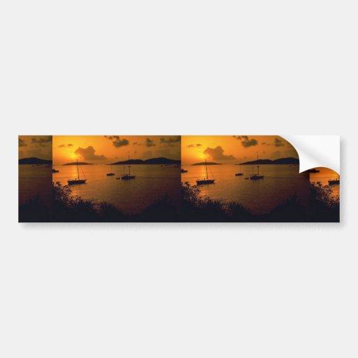 Beautiful Sunset: Virgin Gorda, British Virgin Isl Bumper Stickers