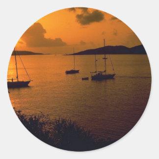 Beautiful Sunset: Virgin Gorda, British Virgin Isl Classic Round Sticker