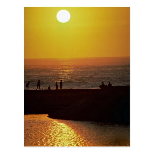 Beautiful Sunset: Waimea Bay, North Shore, Oahu, H Postcard