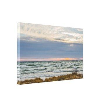 Art Themed Beautiful Sunset with Whitecaps on Lake Michigan Canvas Print